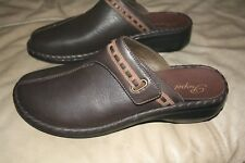 Propet Womens leather brown Clogs Mules Shoes Sz 10 NEW