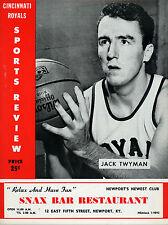 1959-60 NBA MINNEAPOLIS LAKERS vs. CINCINNATI ROYALS GAME PROGRAM (UNSCORED) NM+