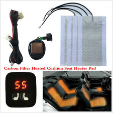 2 Seats Heated 12V Carbon Fiber Seat Heater Kit 5-Level Digital Display Switchs