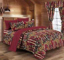 12 Pc Burgundy Woods Comforter,Sheet And Curtain Set. 16 Colors