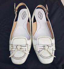 Tods white leather slingback shoes - Size 38.5 - Brand new