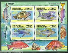 CONGO 2013 FISH COLLECTIVE SHEET OF FOUR MINT NEVER HINGED