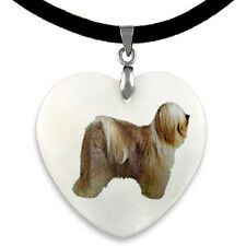 Tibetan Terrier Dog Natural Mother Of Pearl Heart Pendant Necklace Chain PP199