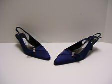 Unisa Womens Shoes Sz 6 M US Navy Satin Heels Slipons Casual Dress Pumps