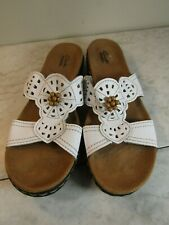 Clarks Collection Leather Strap Beaded Slide Sandal Shoes Women's 9.5 EU 41