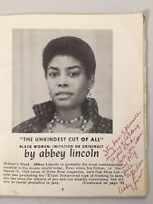 Abbey Lincolns Autograph in January 1963 Edition Of Harlemite Magazine