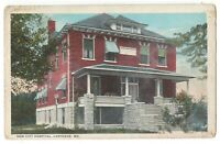 Postcard New City Hospital, Carthage, Missouri MO Old Postcard Postmark 1926