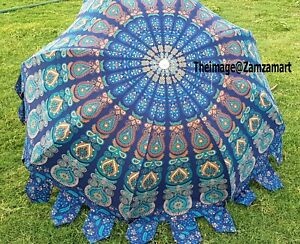 Indian All Pattern Cotton Garden Décor Umbrella Patio Parasols Multi Umbrella US