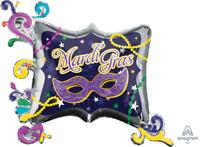 MARDI GRAS FOIL BALLOON MASQUERADE MASK BEADS STARS PARTY DECORATION SUPER SHAPE