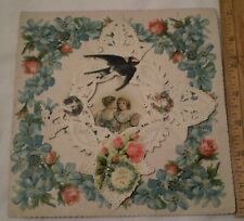 Antique Valentine Card Lace Layer Hears Swallow