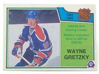 1983-84 Wayne Gretzky #217 Scoring Leader O-Pee-Chee Ice Hockey Card G897