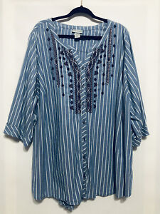 Catherine/'s 4X 30//32 Star Striped Tee Women/'s Top Stretch Red White Blue Bust 64