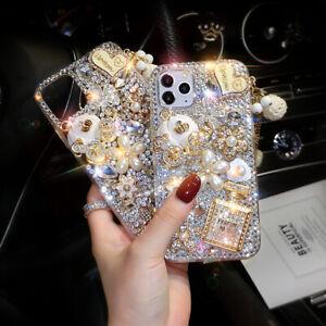 For Samsung S21 S20 S10 S9 Note20 10 9 8 Glitter Bling Flower Full Diamond Case