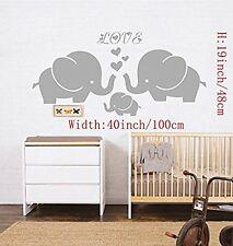 Ares-Large Cute Elephant Family With Hearts Wall Decals Baby Nursery Decor Kids