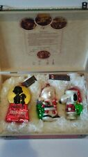 Peanuts Glass Polonaise Collection Kurt Adler Christmas Ornament Box Set Snoopy