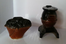 Vintage salt & pepper shakers pot belly stove with coal bucket