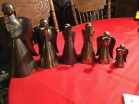 "Lot Of 6 Vintage Brass Angel Taper Candle Holder 12"" to 4.5"""