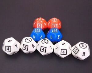 Lot of 9 -12 Sided Dice Red White Blue