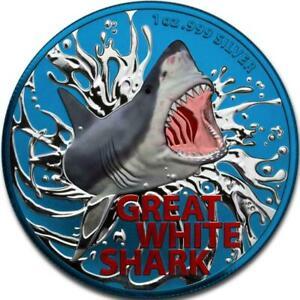 Australia 2021 1$ Great White Shark Space Blue 1 Oz 999 Silver Coin