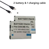 2X Batteries +Data Charging Cable for Canon Powershot SX400 IS, SX420 IS,