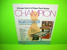 Chicago Coin Champion Original 1976 Shuffle Alley Arcade Bowling Game Sale Flyer