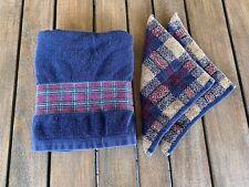 SET VINTAGE RALPH LAUREN NAVY/PLAID BATH TOWEL/Washcloths