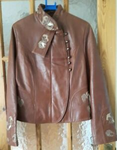 """Vintage LIDER DERI Brown Real Lambs Leather Jacket Size: 38"""" Chest"""