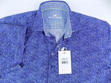 $178 NWT Bertigo Edgar Short Sleeve Woven Shirt Blue Size-Small