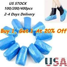 100/200/400 PCS Plastic Waterproof Shoe Covers Blue Overshoes Boot Anti-slip USA