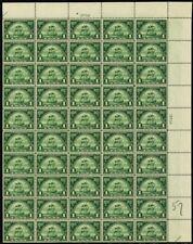 614, Vf Mint Nh Top Pl# Sheet of 50 1¢ Stamps Brookman $375.00 - Stuart Katz