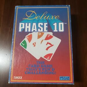 PHASE 10 FUNDEX 1995 Deluxe Edition Complete Card Game EUC