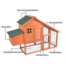 "Wooden Chicken Coop Rabbit Hutch 66"" Cage Hen House Pet Animal Cage Run Outdoor"