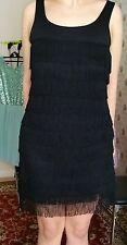 "GORGEOUS FIGURE-HUGGING BLACK PARTY COCKTAIL FRINGE DRESS by ""H&M"", UK SIZE 14."