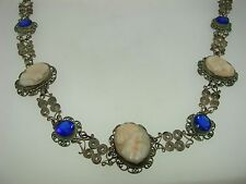ANTIQUE VICTORIAN EUROPEAN 800 SILVER FILIGREE CARVED SHELL CAMEO NECKLACE!