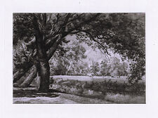 "BRUNET DEBAINES 1800s Original Etching ""Beautiful Magdalen College"" SIGNED COA"