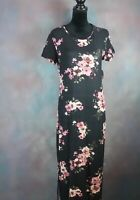NWT! Bobbie Brooks Women's Dress Size L Black Pink Floral Short Sleeve Long Maxi