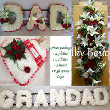 Artificial Silk Funeral Flower Letter Package Dad Grandad Wreath Spray Tribute