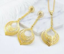 Dubai Gold Costume Fashion African Necklace Long Earrings Pendant Jewelry Set