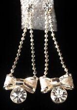 "Plate Bead Ball Chain Dangle Earrings 1 3/4"" Long Rhinestone Bow Silver Tone"