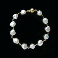 White Natural Freshwater Keshi Pearl Bracelet 925 Sterling Silver Magnetic Clasp