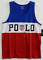 Polo Ralph Lauren Big Tall Mens Red White Blue USA Tank Top T-Shirt NWT Size 2XB