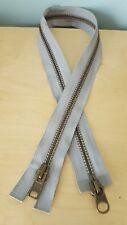 """New YKK Grey Metal Coat Zip Free P&P 76cm 30"""" Two Way Open End Zipper"""