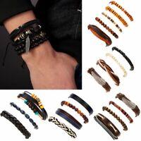 3/4/5pcs Mens Leather Beads Wrap Braided Wristband Cuff Punk Bracelet Bangle New