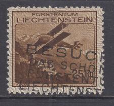 Liechtenstein Sc C3 used 1930 25rp Biplane Over Vaduz Castle, F-VF