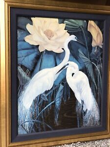 VTG BIG EGRET PICTURE Framed Jessie Arms Botke Tropical Frame Matted 29 X 34""
