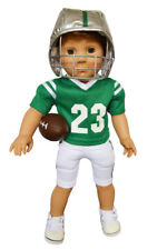 Green and White Football Outfit for American Girl Boy Dolls