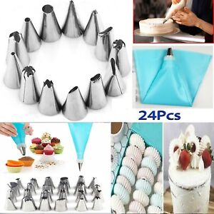 24 PIECES ICING PIPING NOZZLE TOOL SET PASTRY CAKE CUPCAKE SUGARCRAFT DECORATING