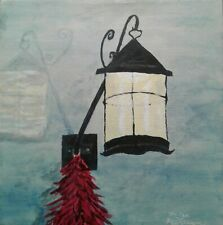Glowing Lantern. Original painting on Canvas. signed Kriss Sullivan. Backlight