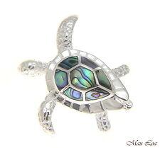 925 Sterling Silver Hawaiian Honu Sea Turtle Abalone Paua Shell Slider Pendant
