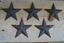 "Set of 5 ~ 5.5""  BLACK BARN STARS Metal Tin  Primitive Country 5 1/2"""
